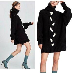 New Zara oversized turtleneck cable-knit sweater